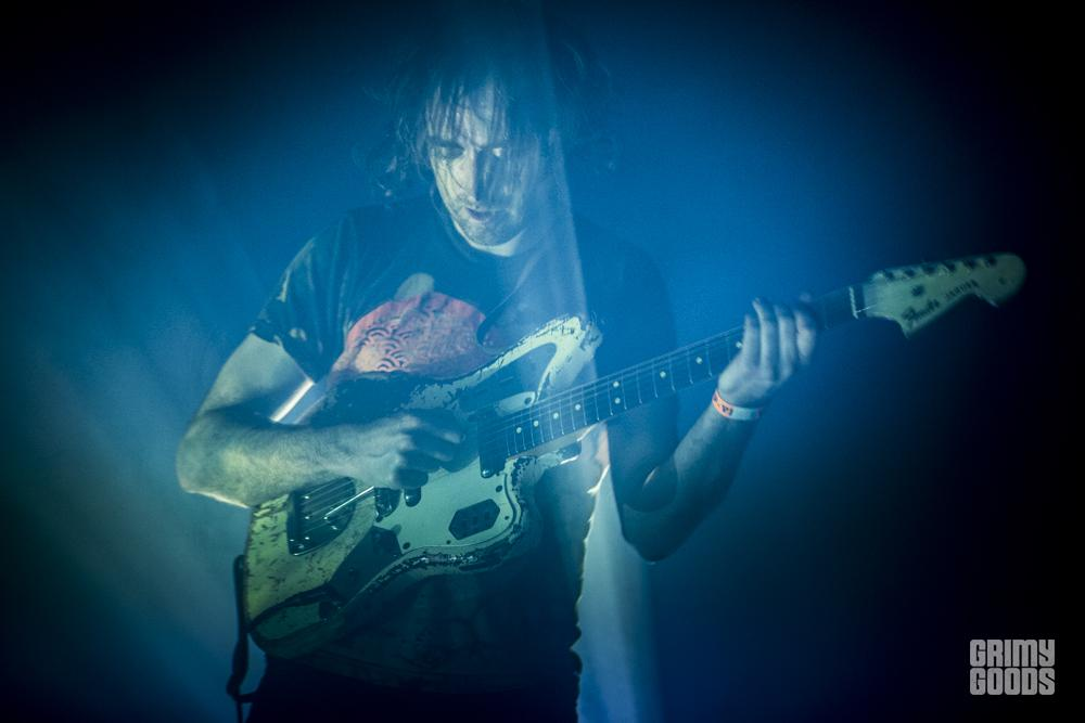 Oliver Ackermann of A Place to Bury Strangers at the Echoplex in Los Angeles, California, photo by Wes Marsala