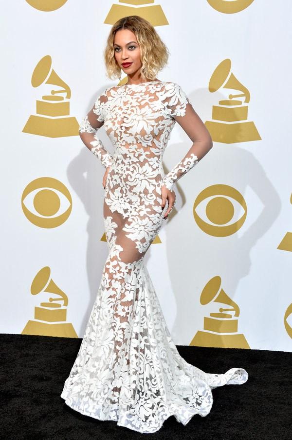 beyonce grammy awards white dress Michael Costello