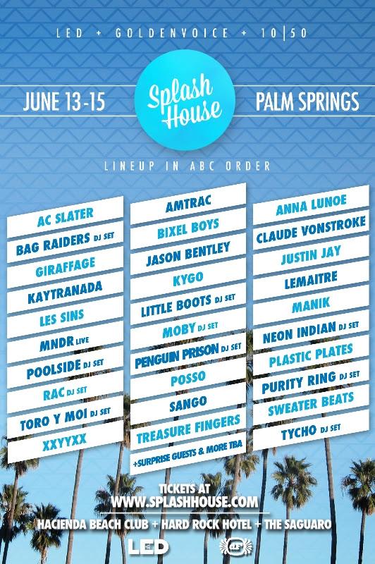 splash house palm springs lineup