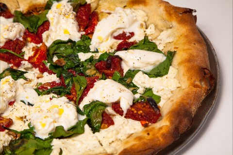 Your happiness here. Pictured Dough Burrata Pizza.