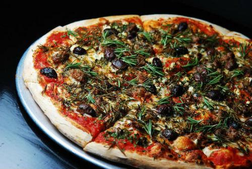 Lucifer's Greek Lamb Rosemary Pizza