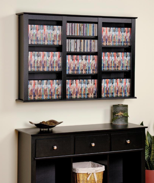 Black Triple Wall Mounted Storage for records vinyl