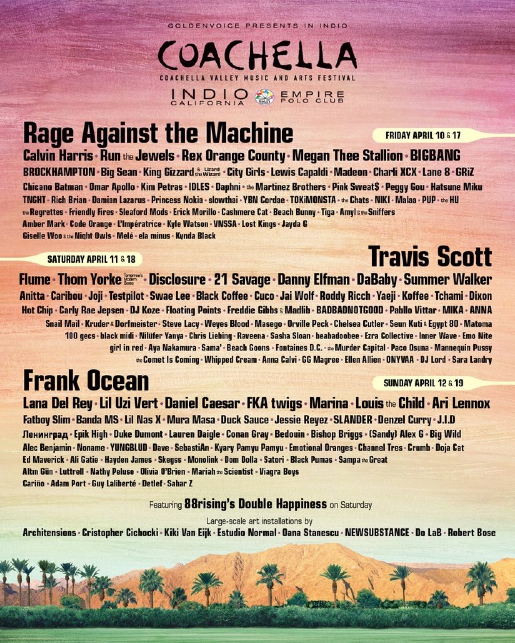coachella 2020 official lineup poster
