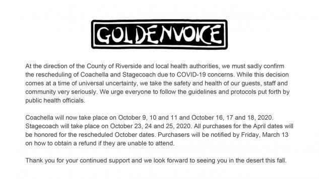 Coachella postponed to October